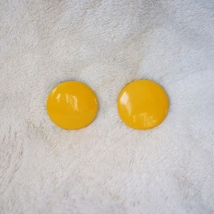 Large Bright Yellow 60's 70's Round Stud Earrings